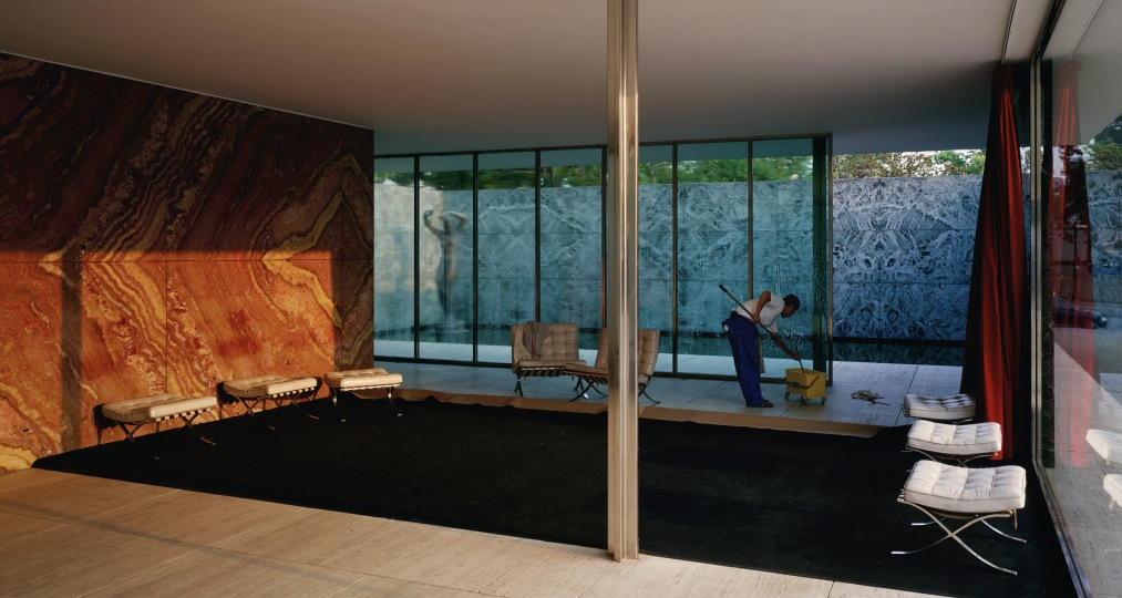 Jeff Wall, Morning Cleaning, Mies van der Rohe  Foundation, Barcelona, 1999, lightbox, 187 x 351 cm, Courtesy of the artist